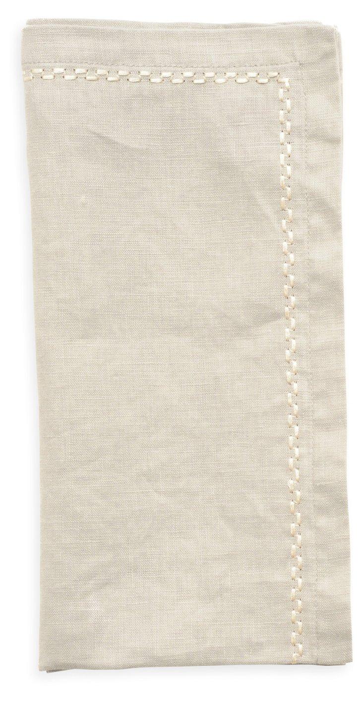 S/4 Washed Linen Napkins, Platinum