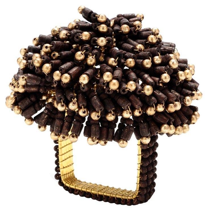 S/4 Bead Burst Napkin Rings, Brown