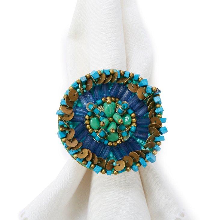S/4 Ethnic Disk Napkin Rings, Jade