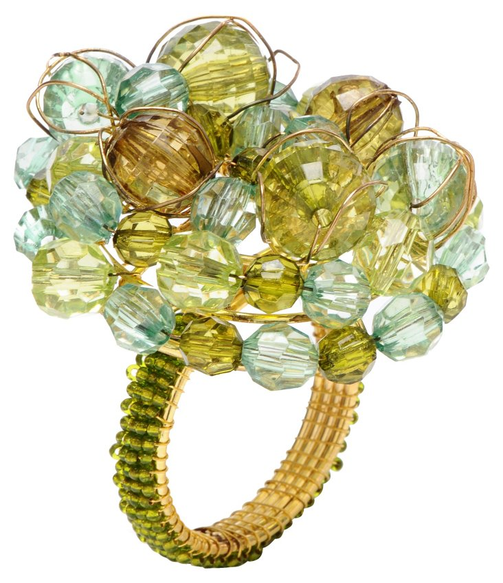 S/4 Gum Drop Napkin Rings, Green