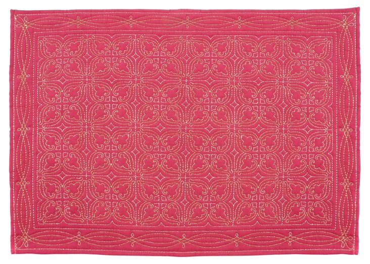 S/4 Quilted Medallion Place Mats, Fuchsia