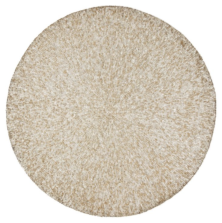 S/4 Metal Bead Round Place Mats, Silver