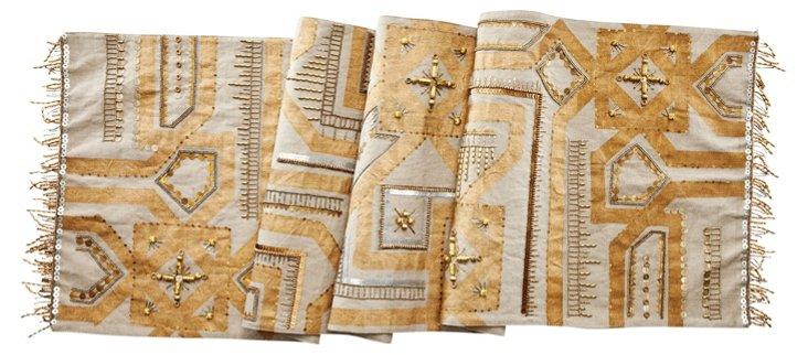 Moroccan Linen Runner, Gold