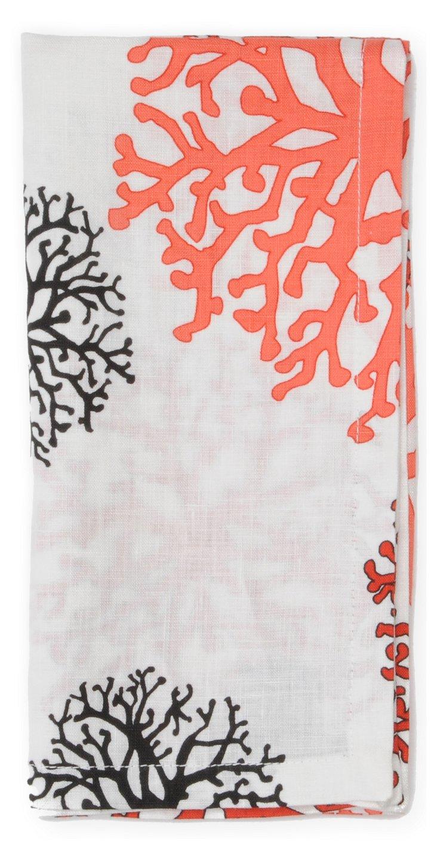 S/4 Coral Print Napkins, Orange