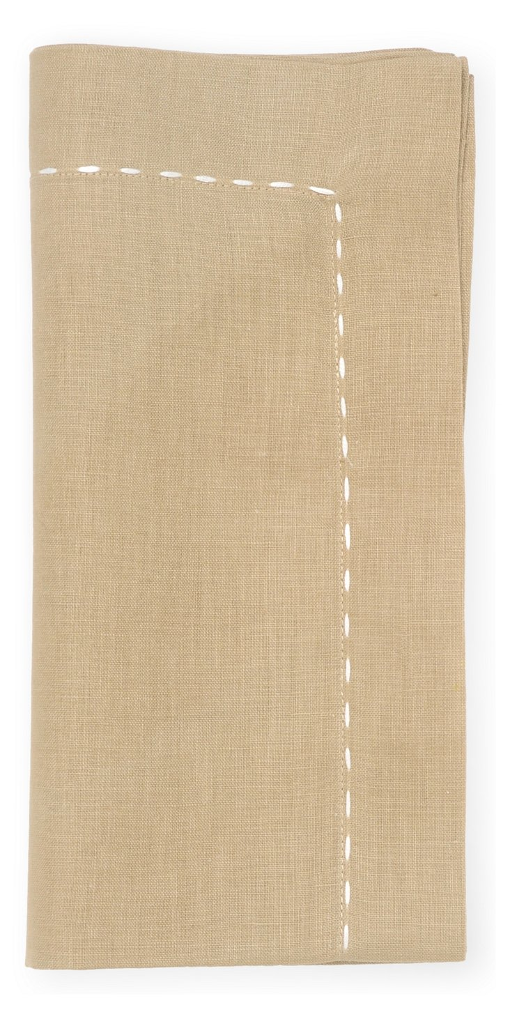 S/4 Pickstitch Napkins, Beige