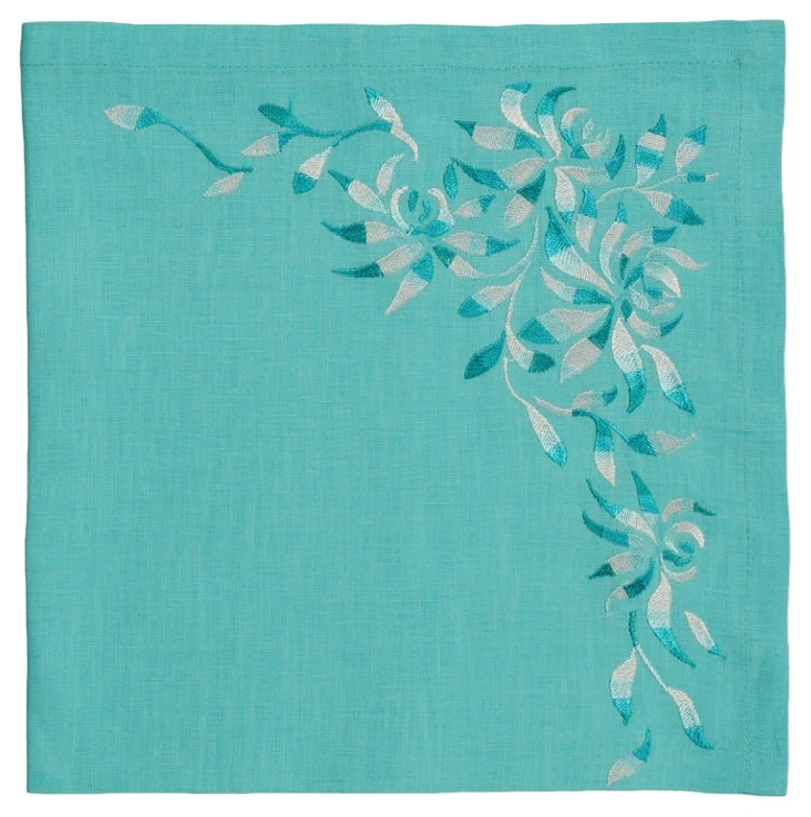 S/4 Shadow Flower Napkins, Seafoam