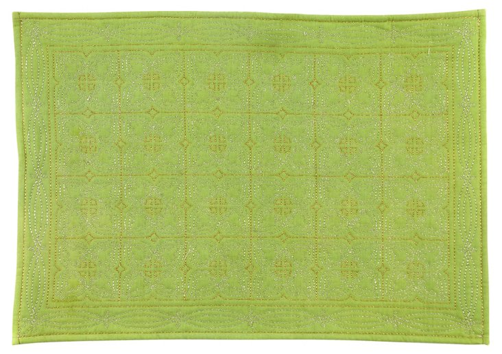 S/4 Quilted Medallion Place Mats, Leaf