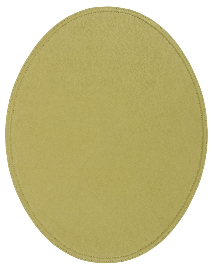 S/4 Suede Stone Place Mats, Olive