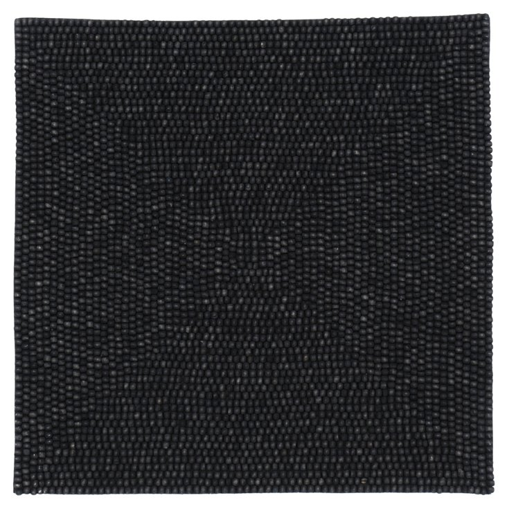 S/4 Wood Square Place Mat, Black