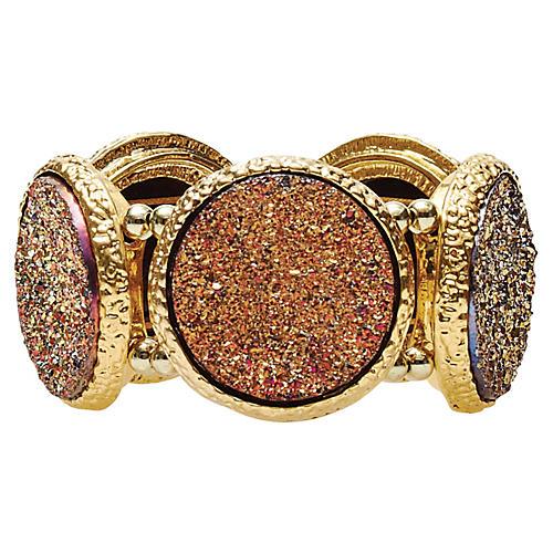 S/4 Harlequin Napkin Rings, Gold