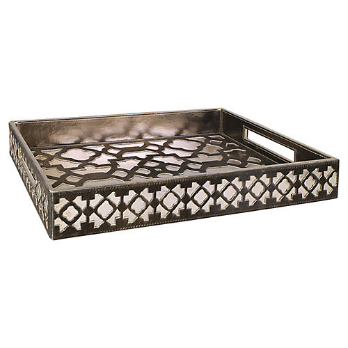 Casablanca Tray, Brown/Pewter