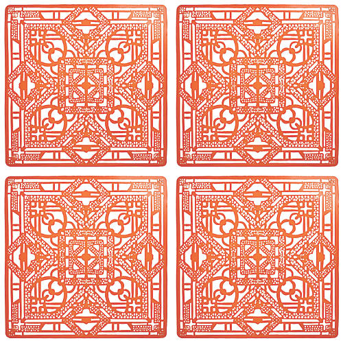 S/4 Filigree Place Mats, Orange