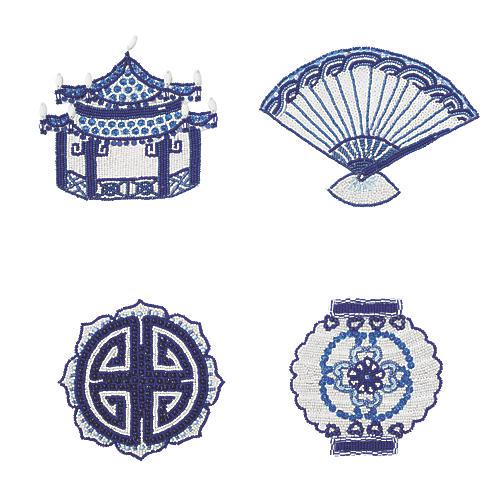 S/4 Ming Coasters, Indigo/White