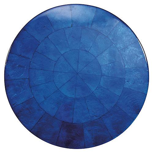S/4 Capiz Round Place Mats, Cobalt