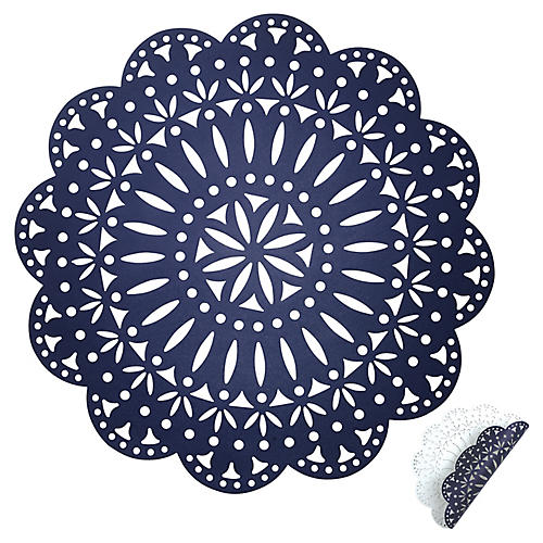 S/4 Fête Reversible Place Mats, Navy/White