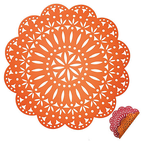 S/4 Fête Reversible Place Mats, Orange/Pink