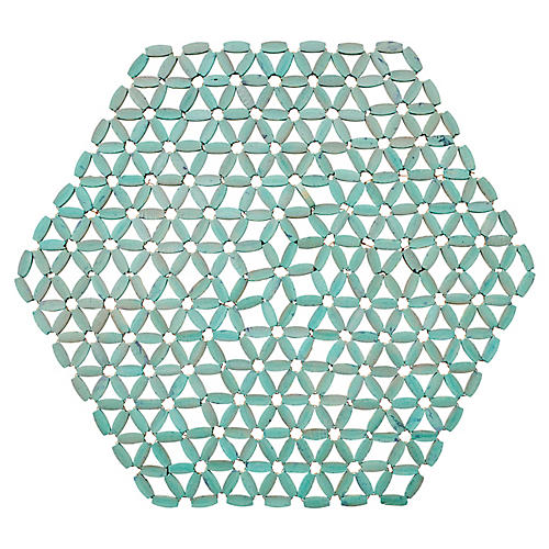 S/4 Hexagon Bamboo Place Mats, Seafoam