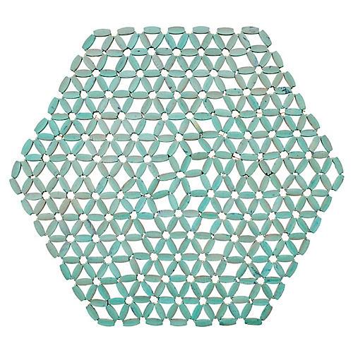 S/4 Hexagon Bamboo Place Mats, Seafoam