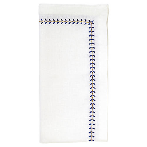 S/4 Herringbone Dinner Napkins, White/Cobalt