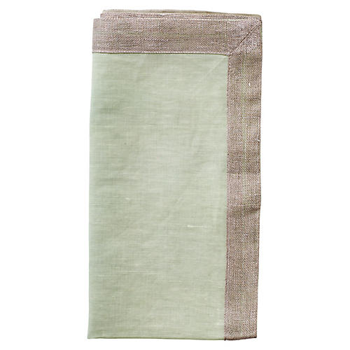 S/4 Dip-Dye Dinner Napkins, Mint/Taupe