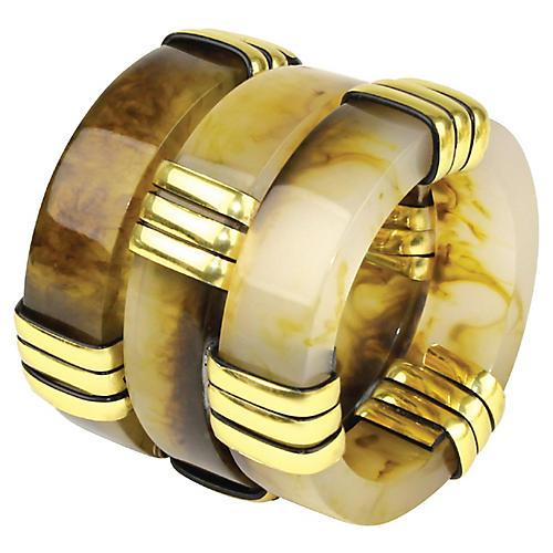 S/4 Horizon Napkin Rings, Natural/Gold