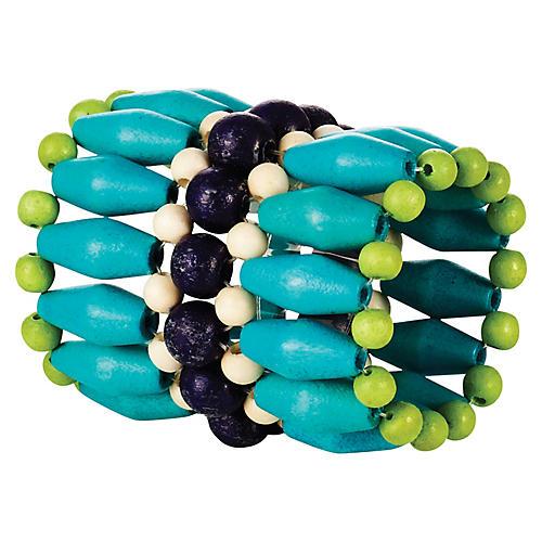 S/4 Fête Napkin Rings, Blue/Multi
