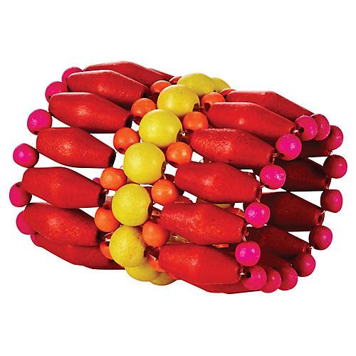 S/4 Fête Napkin Rings, Coral/Multi