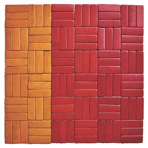 S/4 Jengaa Place Mats, Orange/Red