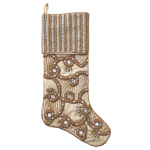 "19.5"" Fireworks Stocking, Champagne"