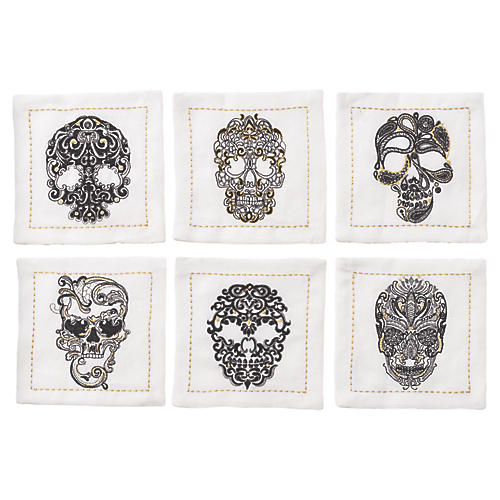 S/6 Catrina Cocktail Napkins, White/Multi