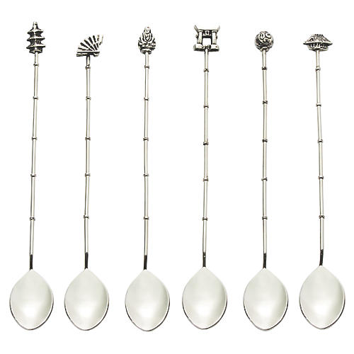 S/6 Chinoiserie Iced Tea Spoons, Silver