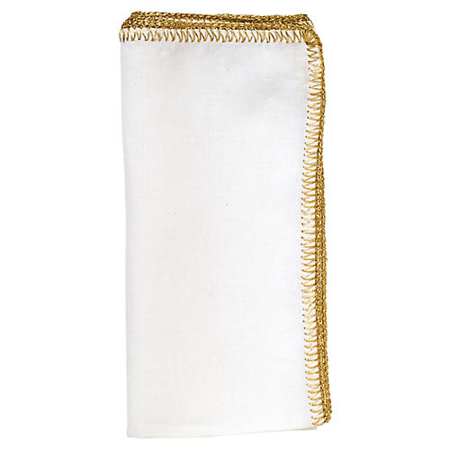 S/4 Crochet Edge Dinner Napkin, White/Gold