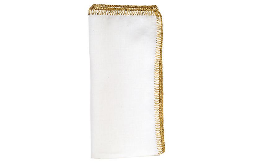 S/4 Crochet Edge Dinner Napkin, White/Gold
