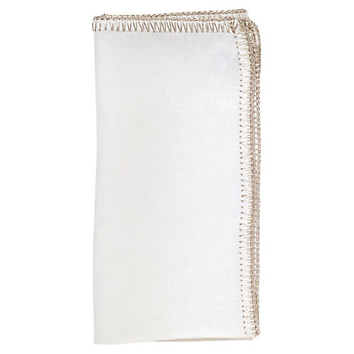 S/4 Crochet Edge Dinner Napkin, White/Silver