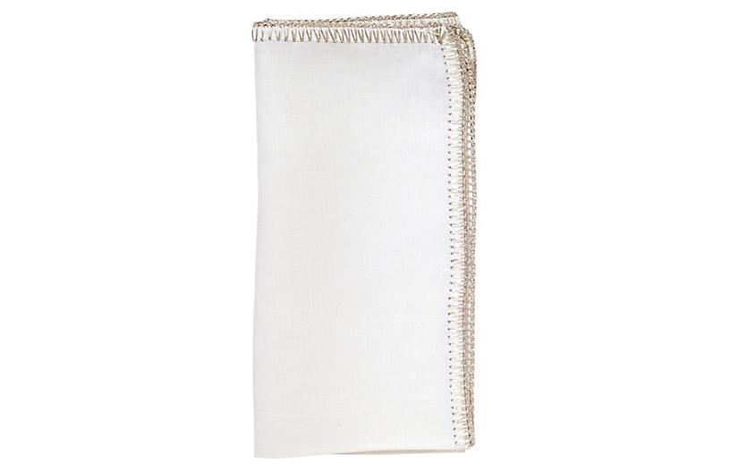 S/4 Crochet Edge Dinner Napkin, White/Silver