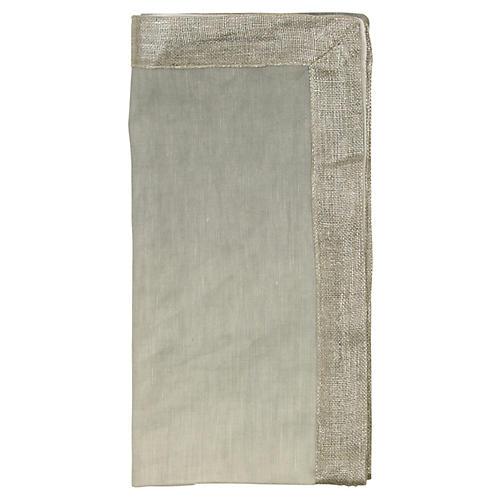 S/4 Dip-Dye Dinner Napkin, Gray/Silver