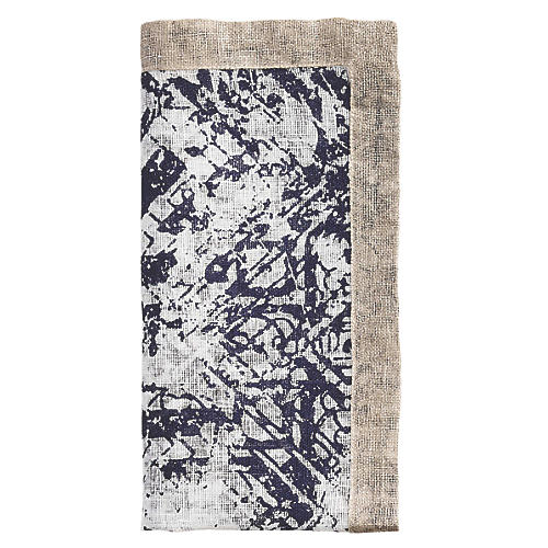 S/4 Distressed Dinner Napkin, White/Navy