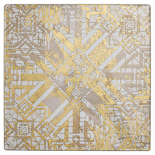 S/4 Distressed Place Mats, Gold/Multi