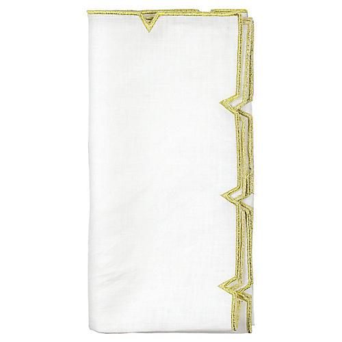 S/4 Divot Dinner Napkin, White/Gold