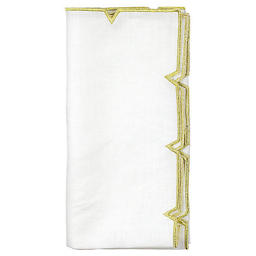 S/4 Divot Dinner Napkin, White/Gold