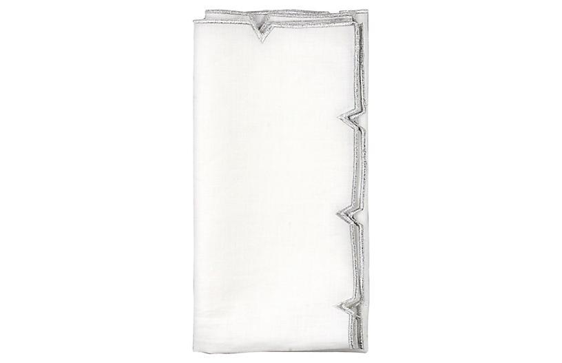 S/4 Divot Dinner Napkin, White/Silver