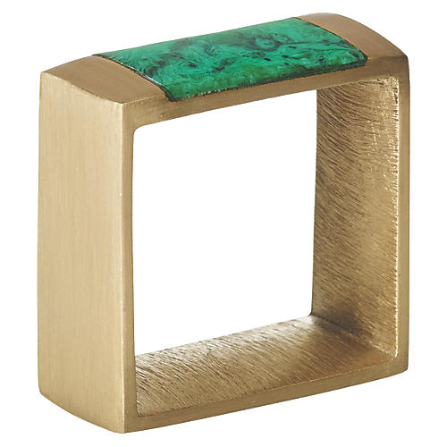 S/4 Gem Block Napkin Rings, Green/Gold