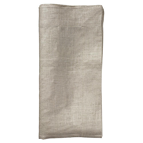 S/4 Metallic Dinner Napkin, Natural/Silver