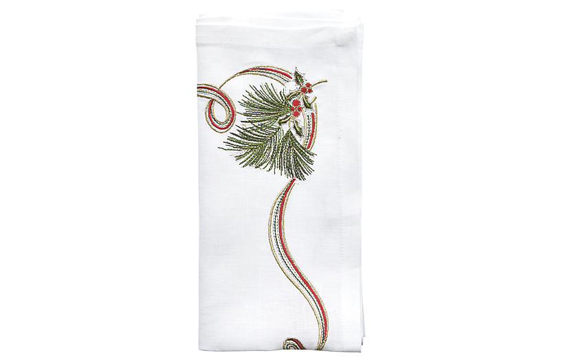 Set of 4 Pine Sprig Dinner Napkin - White - Kim Seybert