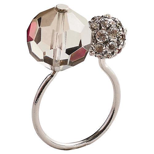 S/4 Posh Napkin Rings, Gray/Silver