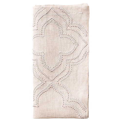 S/4 Tangier Dinner Napkins, Natural/Silver