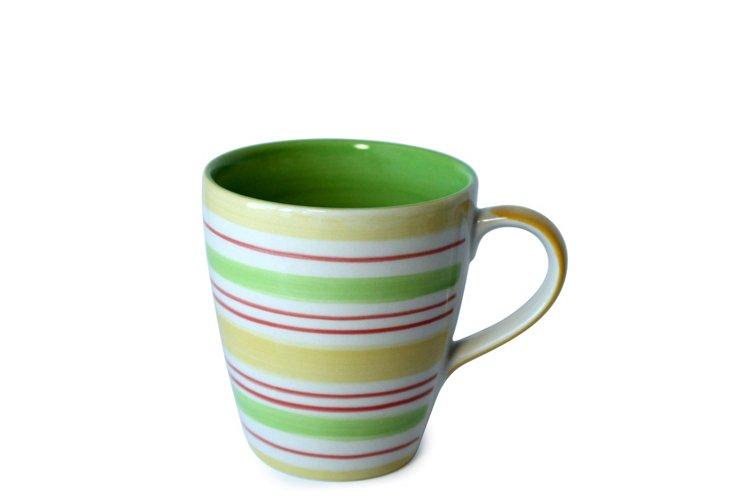 S/6 Green Stripes Mugs
