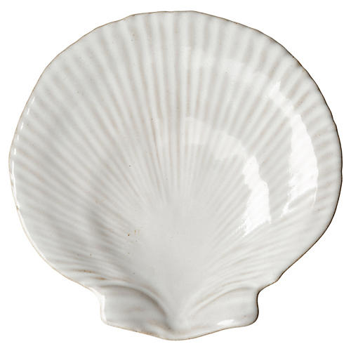 Scallop Shell Serving Plate, White