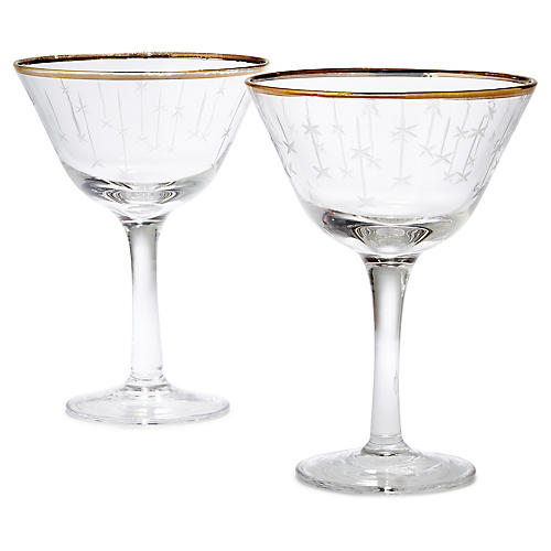 S/2 Stella Falling Star Champagne Coupes, Gold