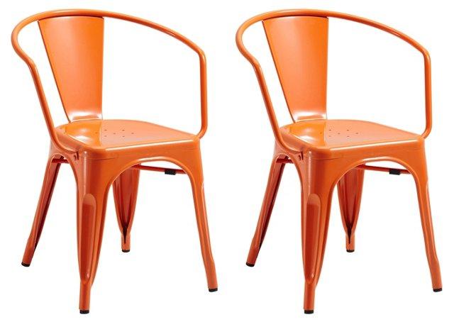 Orange Amy Armchairs, Pair